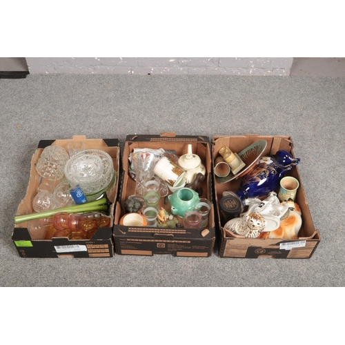 226 - Three boxes of miscellaneous, Crown Devon Fieldings, Beswick, Wedgwood examples to include cut cryst...