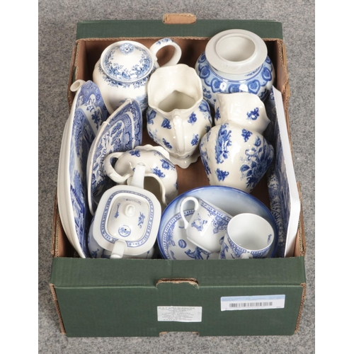 228 - A box of blue & White ceramic's, Edwardian Childhood by Spode, Alfred Meakin examples...