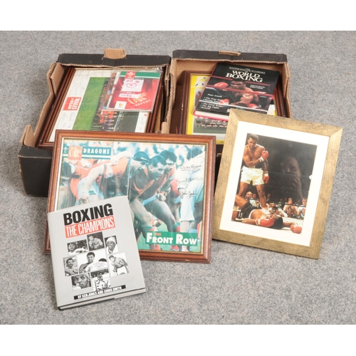 235 - Two box's of Sport Ephemera & books, to include The Front Row 'Dragons' signed picture....