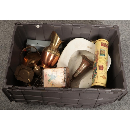 238 - A box of mainly metalwares, brass jugs, vases, candlesticks etc...