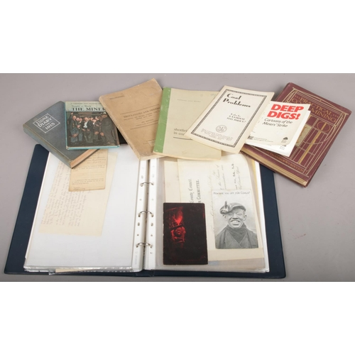 241 - A box of mining ephemera, to include 1924 regulations and orders book, Practical Coal Mining book et...