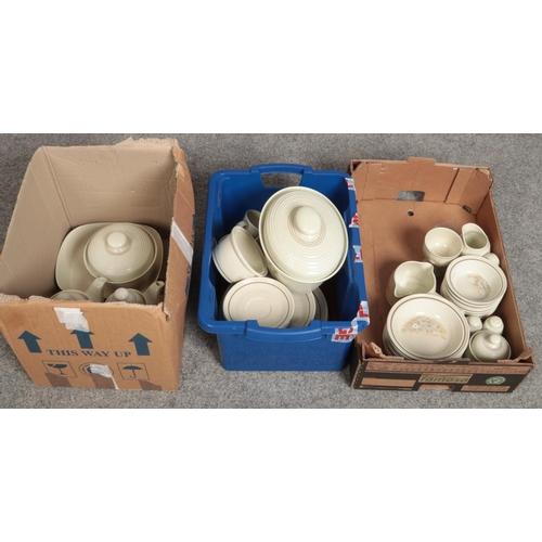 246 - Three boxes of Royal Doulton Lambeth ware ' Florinda', Coffee pot, Tea pot, plates, bowls, cups, jug...
