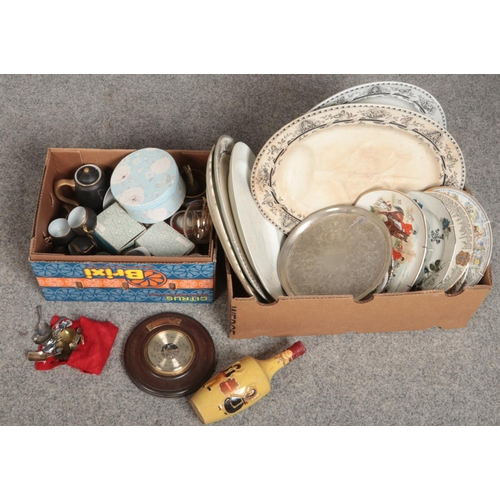260 - Two boxes of ceramics and collectables including quantity of caddy spoons, pottery meat plates and a...