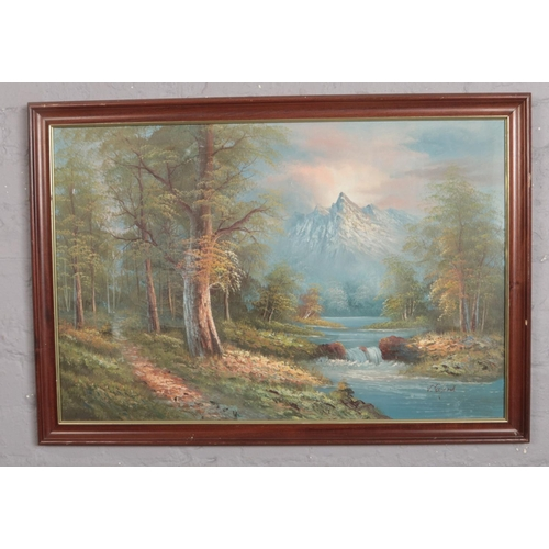 289 - V. Elford, Oil on Canvas, landscape scene, framed (approx 83 x 59 cm )...
