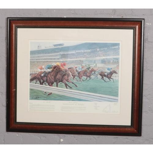 307 - A Buckingham's Racecourses of Britain, horse racing print signed Paul Hart, (approx 58 cm x 40 cm)...