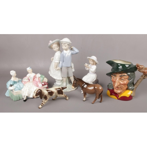 172 - A collection of ceramic figures and animals. Lladro boy and girl, Royal Doulton the Love Letter, Bes...