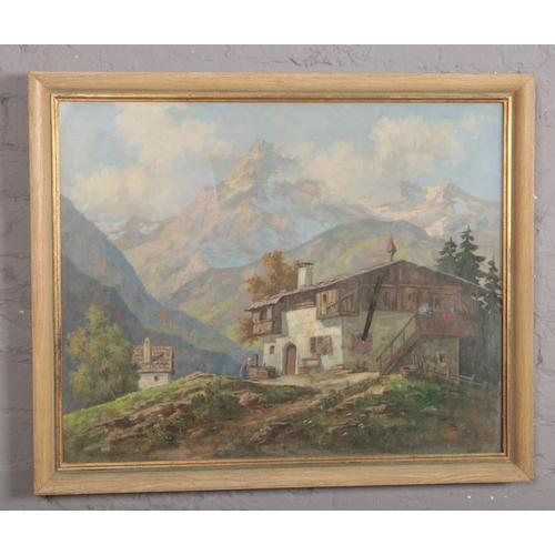 301 - Karger (continental school. Framed oil on canvas. Alpine scene, 62cm x 75cm....