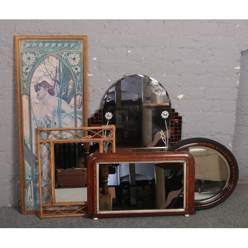 322 - Four mirrors, to include Victorian example, along with a framed print....