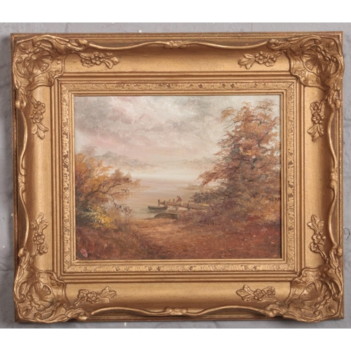 335 - A 20th century English school gilt framed oil on board. River landscpae with a figure mooring a boat...