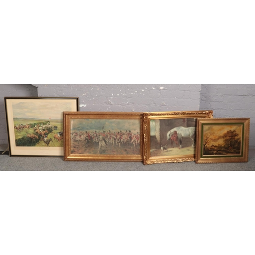 337 - Four equestrian themed prints. After Volkers, Michael Lyne, Lady Butler and Patrick Nasmith....