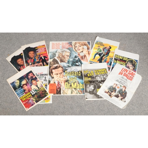 344 - Nine Belgium 1950s and 1960s film advertising posters....