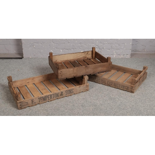 522 - Three potato crates / chitting trays, two stencilled for Temperton & Sons, East Butterwick....