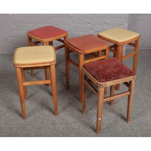 561 - Five vintage wooden stools....