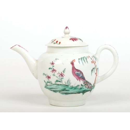 A Worcester globular teapot and cover with pointed finial. Painted in the workshop of James Giles with a peacock in a landscape to each side, with flowers to the cover and stylized puce borders c.1760, 13.25cm. Cf. Stephen Hanscombe, James Giles China and Glass Painter (1718-80) no. 56 for a very similar style of bird painting. Bonhmas, the Crane collection 31st March 2010, lot 278 for another similar naturalistic bird painting.
