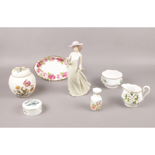 15 - A group of ceramic's, NAO, Royal Albert, Mason's examples, figurine, pin dishes, ginger jar etc...