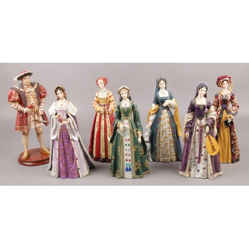 20 - A set of seven composite Regency Fine Art figures, Henry VIII and his six wives....