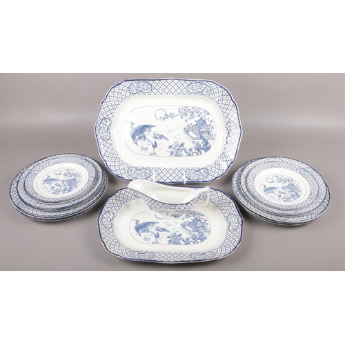 38 - A collection of blue and white Orient pattern dinnerwares (approximately 16 pieces).