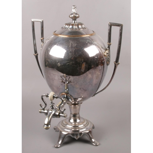 42 - A 19th century twin handled silver plate and copper 4 quart samovar, height 42cm....