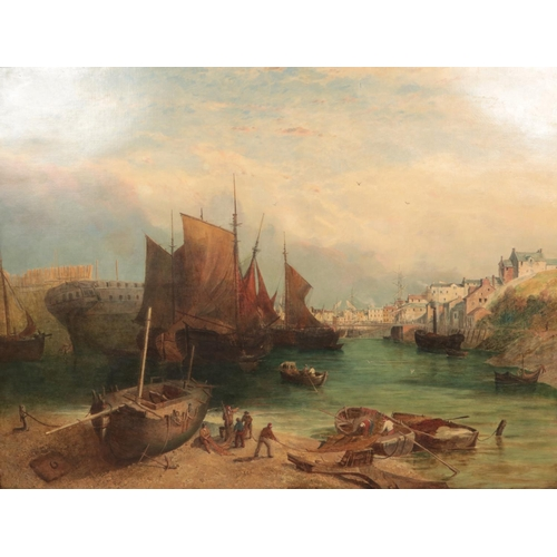 William Linton RBA (1791 – 1876) Large gilt framed oil on canvas continental harbour with sailing boats and figures to the foreground, unloading the catch, 110 cm x 146 cm.