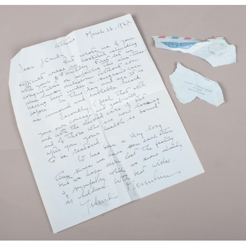 14 - A hand-written letter from the American born Violinist Yehudi Menuhin (1916-1999). The letter is dat...