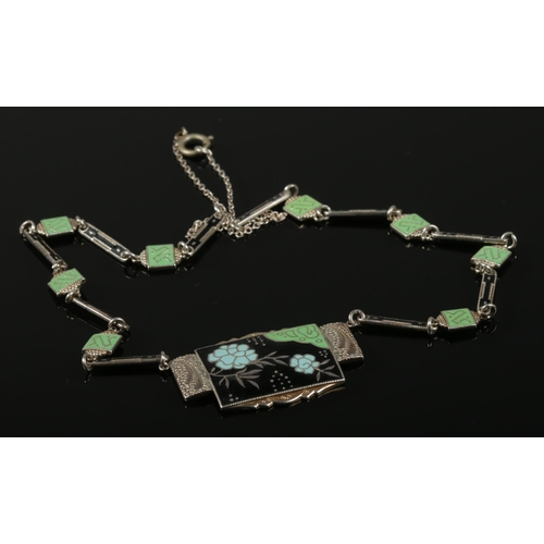 58 - A German Art Deco silver necklet with enamelled panels. Stamped 935.