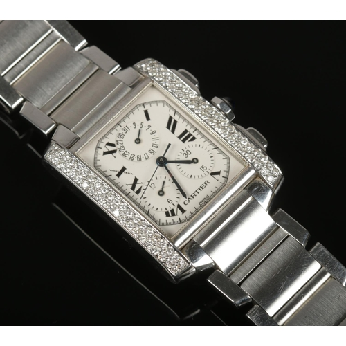 A gents diamond set stainless steel Cartier Tank Francaise chronograph wrist watch. Ref. 2303, no. BB107579.