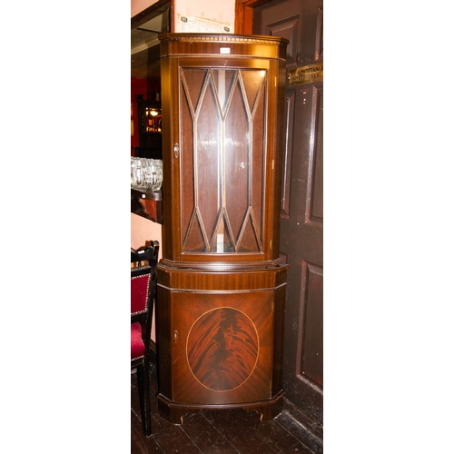 10 - BOW FRONT INLAID CORNER CABINET 178 HIGH X 45CM DEEP...