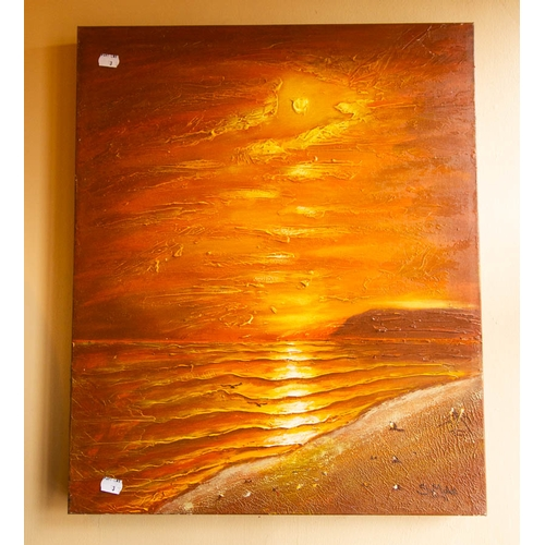3 - 3 MODERN PAINTINGS ON CANVAS 50 x 50cm + 1 PRINT ON BOARD...