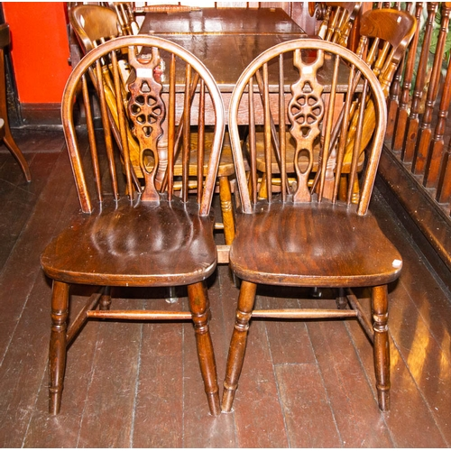 39 - 2 WHEEL BACK PUB CHAIRS WITH STRETCHERS...