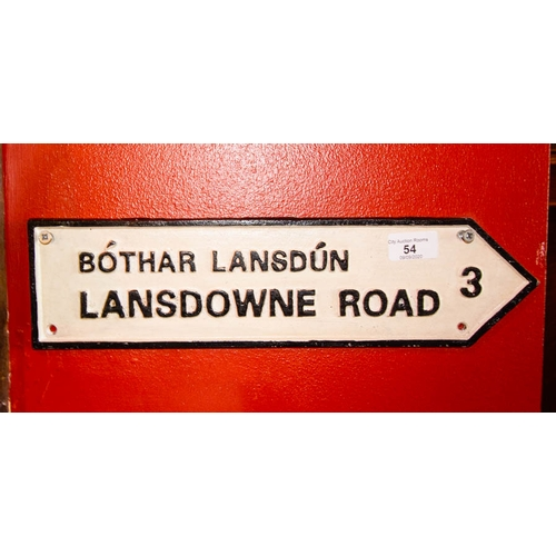 54 - CAST IRON LANDSDOWNE RD SIGN 40CM LONG X 10CM HIGH...