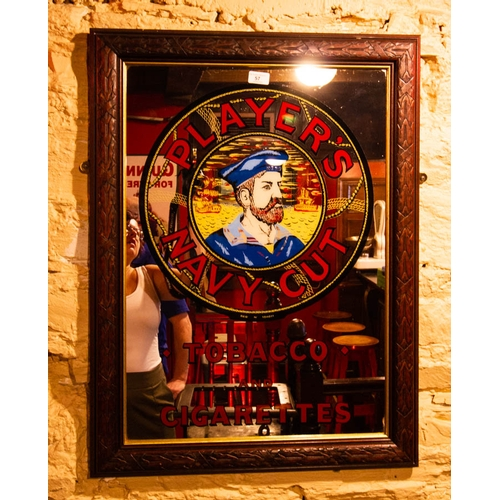 57 - PLAYERS NAVY CUT ADVERTISING MIRROR IN TIMBER FRAME. 82 X 62CM...