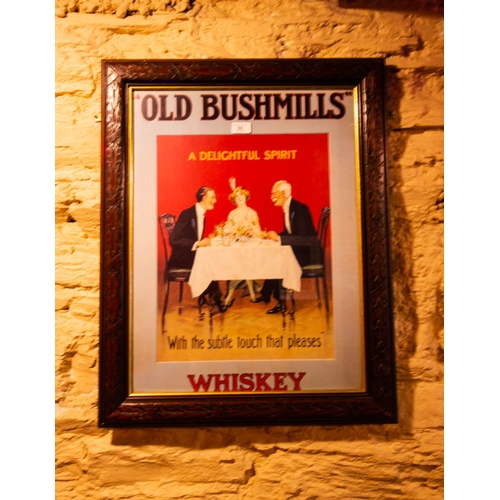 59 - OLD BUSHMILLS  WHISKEY PRINT IN TIMBER FRAME 72 X 59CM...