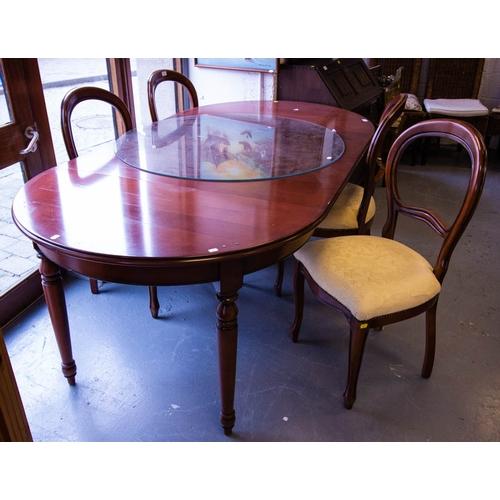10 - CHERRY DINING TABLE + 2 LEAVES WITH GLASS TOP + 4 CHAIRS. 206CM LONG X 110CM W X 78CM H....