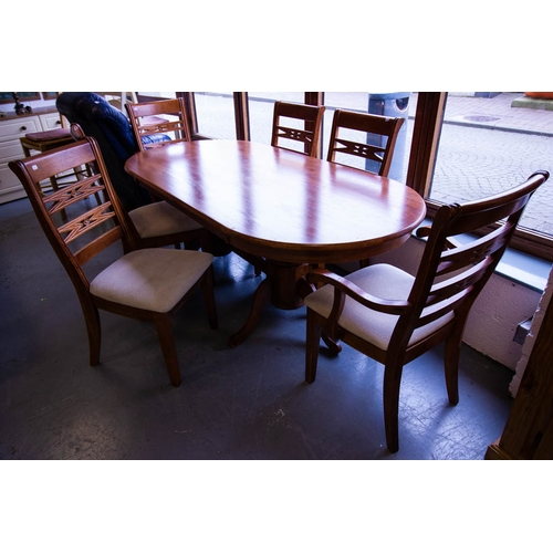 14 - OVAL ENDED DINING TABLE + 6 CHAIRS. 200CM L X 96CM W X 75CM H...