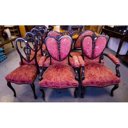 27 - 7 PIECE VICTORIAN MAHOGANY DRAWING ROOM SUITE...
