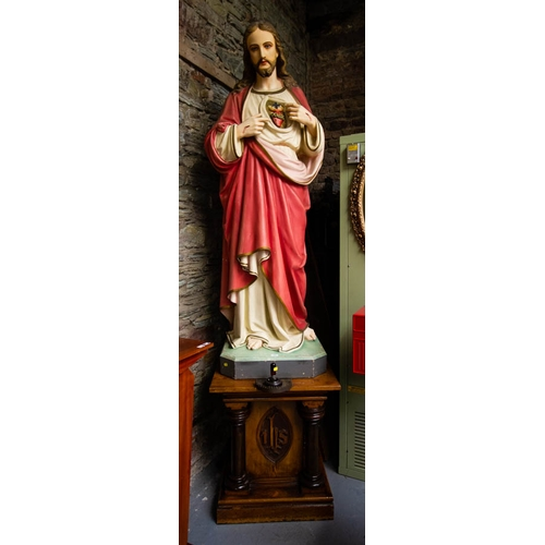 VERY LARGE STATUE OF THE SACRED HEART (190CM HIGH) ON PITCH PINE PLINTH 57 X 57 X 73CM