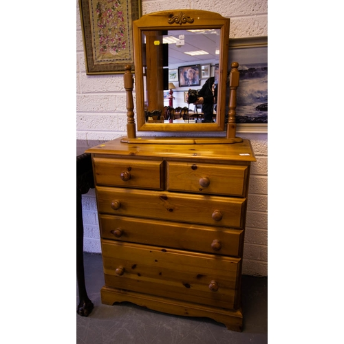 4 - PINE CHEST WITH TOILET MIRROR...