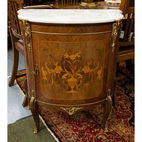 SHAPED FRONT FRENCH STYLE MARBLE TOP INLAID CABINET WITH BRASS MOUNTINGS. 75CM W X 85CM H X 42CM D