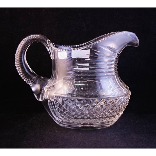OVAL CUT GLASS JUG. PROBABLY WATERFORD