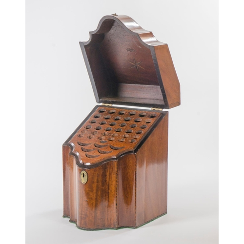 11 - George the third mahogany inlaid serpentine fronted knife box, with original fitting...