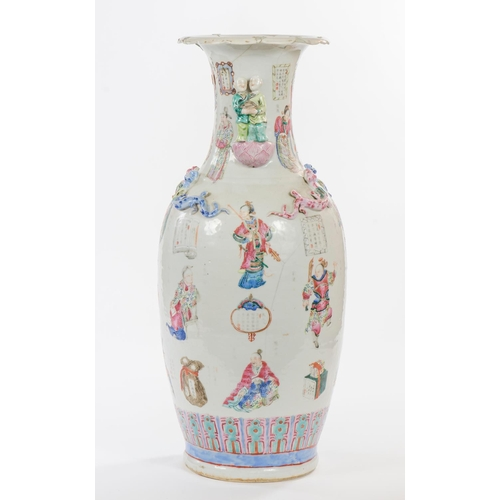 121 - A large antique Chinese/Cantonese enameled multi coloured vase, decorated with gods, warriors verses...