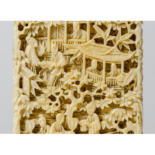 209 - An antique Chinese/Cantonese carved ivory card case, with figures in a garden scene...