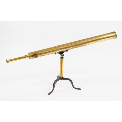 385 - Williams of Bute docks, antique brass cased 2.5 inch retractable, 2 section telescope resting on a b...