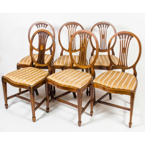 43 - A set of 6 Edwardian design Hepplewhite dining chairs, with box wood inlaid shaped  floral spates, r...