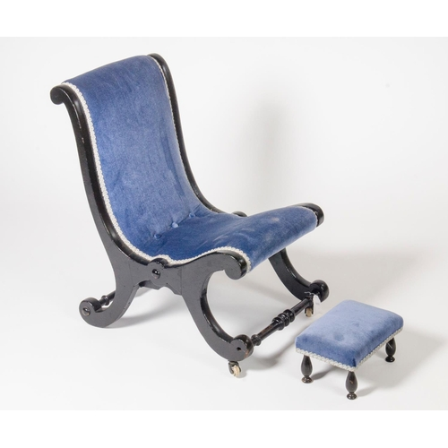 46 - A Victorian ebonised prayer chair, with matching stool in blue draylon...