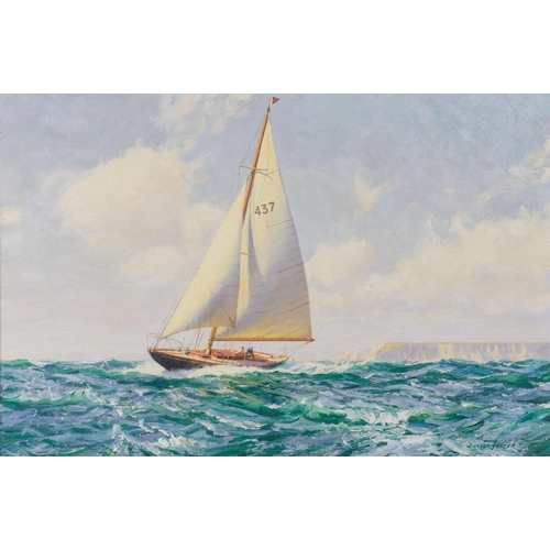 89 - Deryck Foster oil on canvas, signed and dated 1970 of a single mast schooner, cutting though the wav...