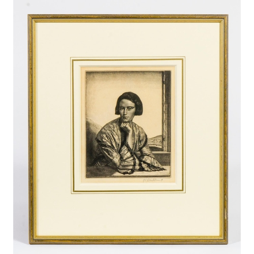 92 - G L Brocklehurst signed engraving of Vita, a lady dressed in taffeta frame and glazed...