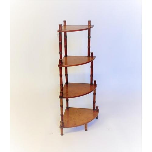 35 - A Reproduction 4 tiered corner whatnot, burr walnut veneered, width 50cm...