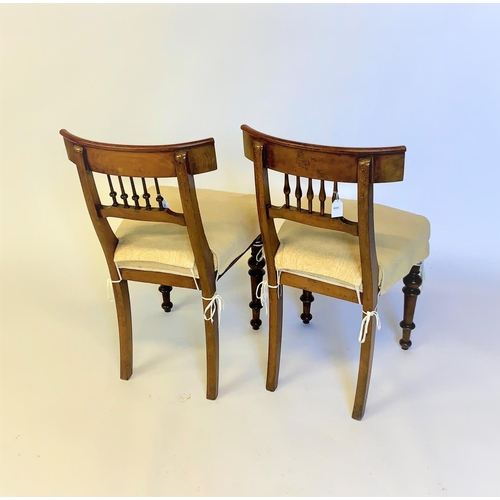 42 - A set of 6 Regency design dining chairs, curved back and spindle back decorated, resting on turned l...