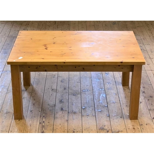 46b - Pine Kitchen table, standing on 4 pine square legs, 152cm long by 92cm wife....